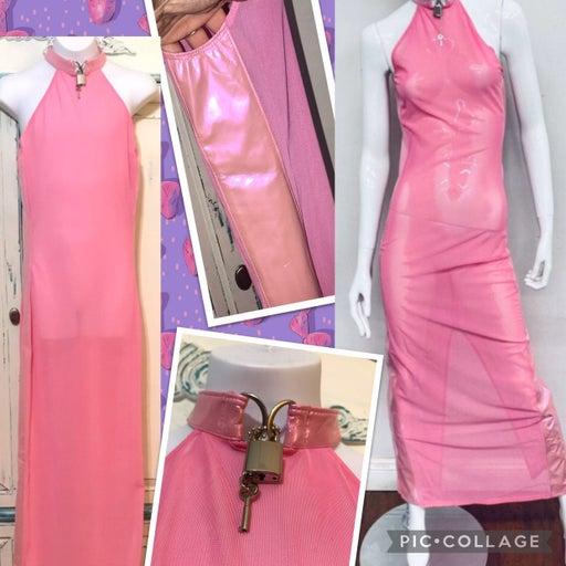 24HR Unique bubblegum pink sheer maxi