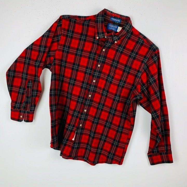 Vtg Pendleton XL Red Wool Plaid Shirt