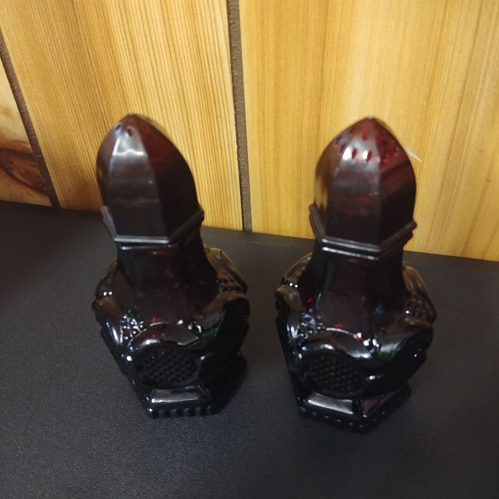 Vintage Red Glass Salt & Pepper Shakers