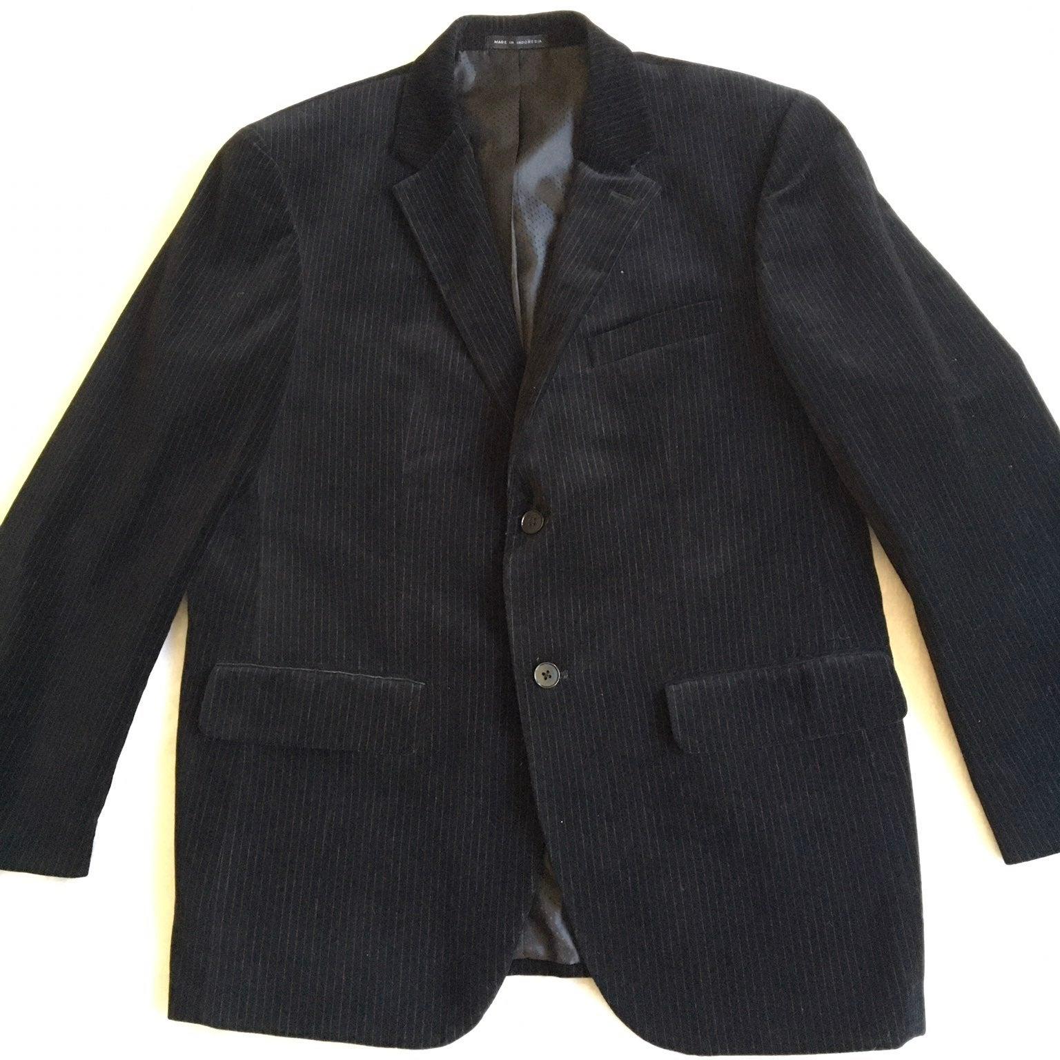 Alfani Pin Striped Black Velvet Jacket