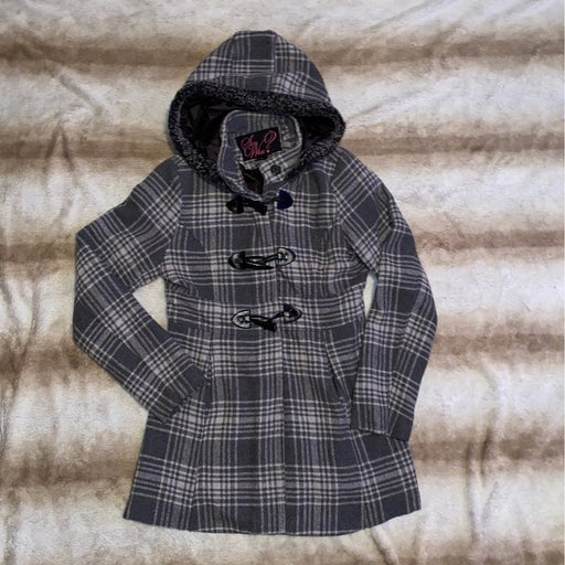 Gray Hooded Plaid Pea Coat