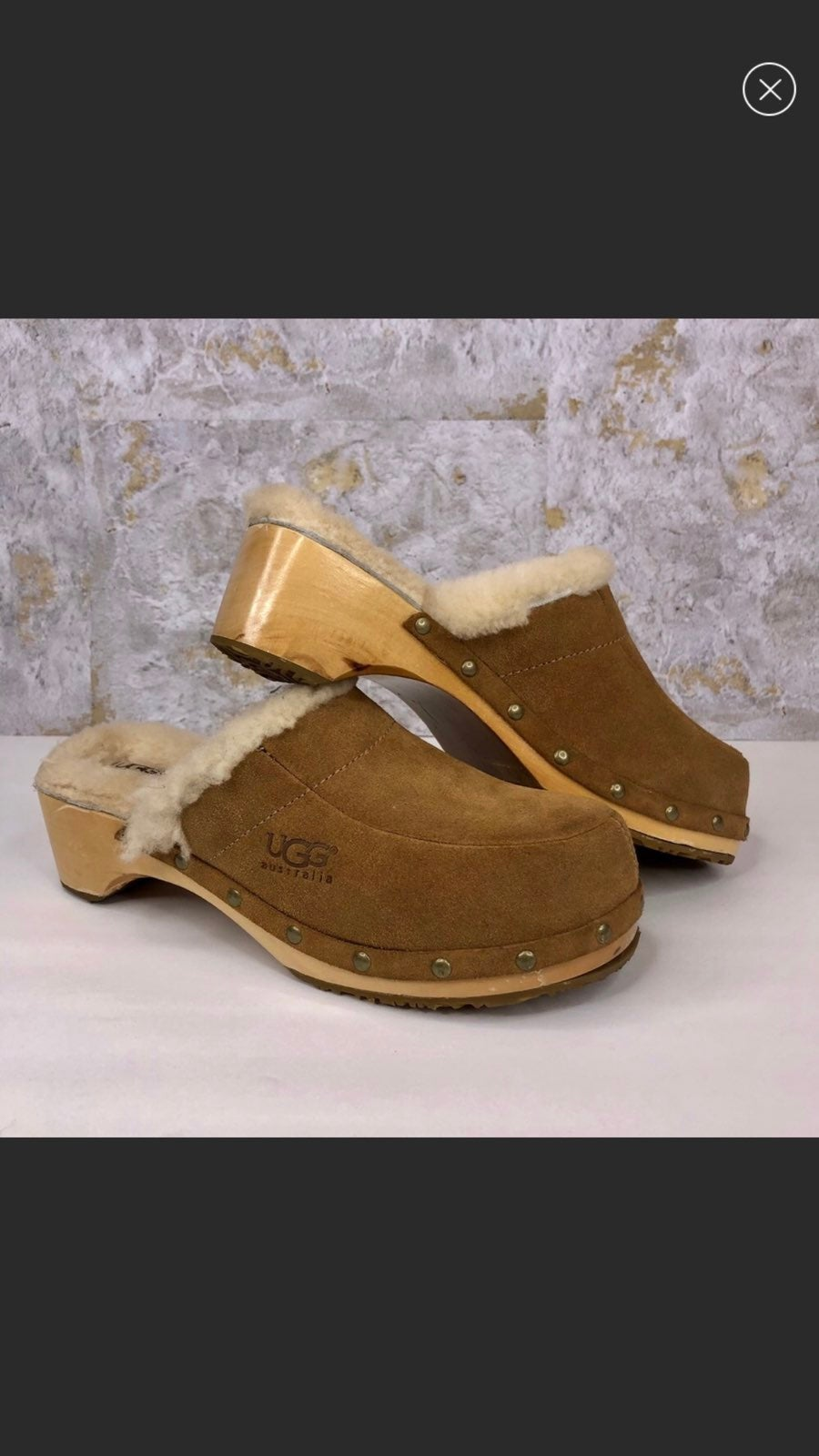 UGG Womens Tan Suede Leather Clogs 8