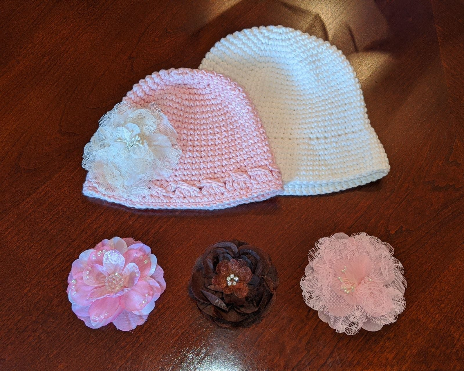 2 Toddler Crochet Hats with Flower Clips