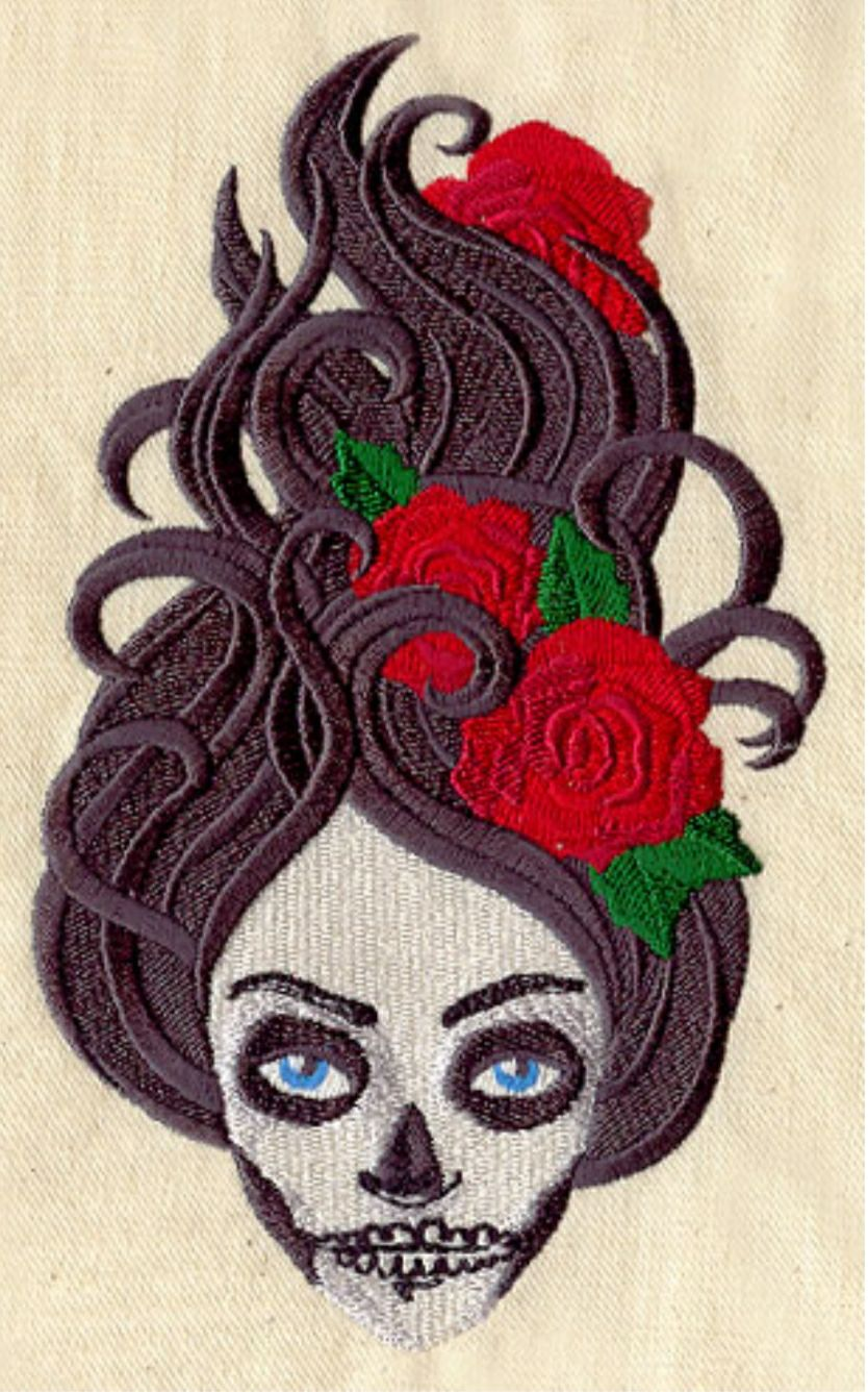 Custom embroidered skeleton woman red ro