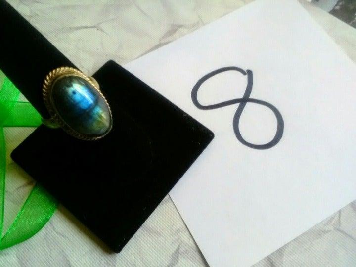 Labradorite Silver plate Copper Ring 8