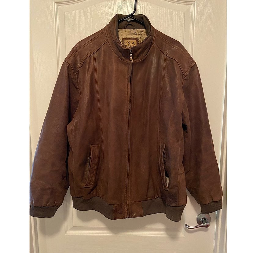 Vintage Jos. A Bank Leather Bomber Jacke
