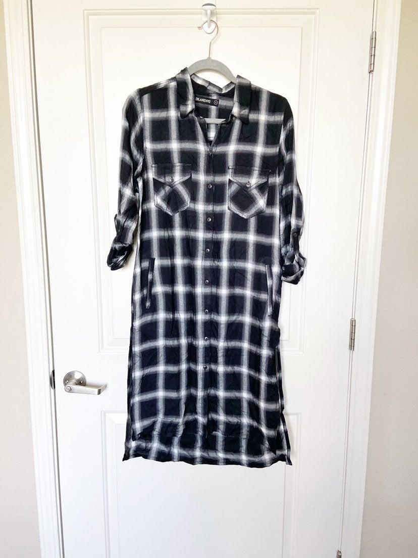 Blank NYC Plaid Black & White Midi Dress
