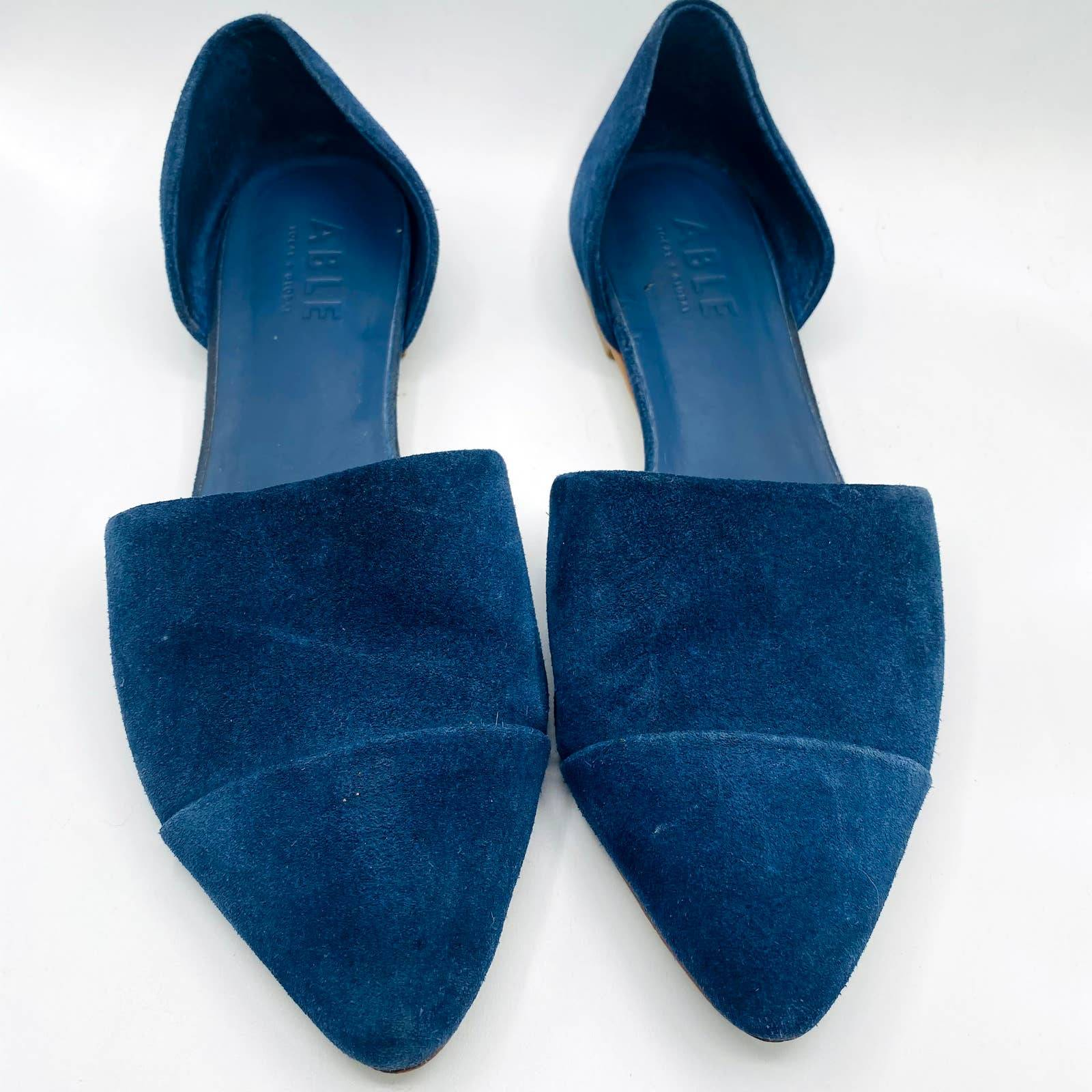 Able Blue Suede D'Orsay Flats Size 9.5