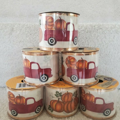Red Truck With Pumpkins Wire Ribbon