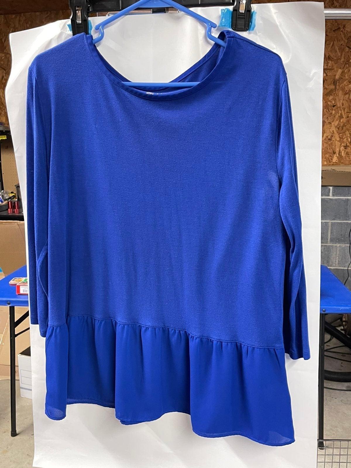 Royal Blue 3/4 sleeve Peplum Top