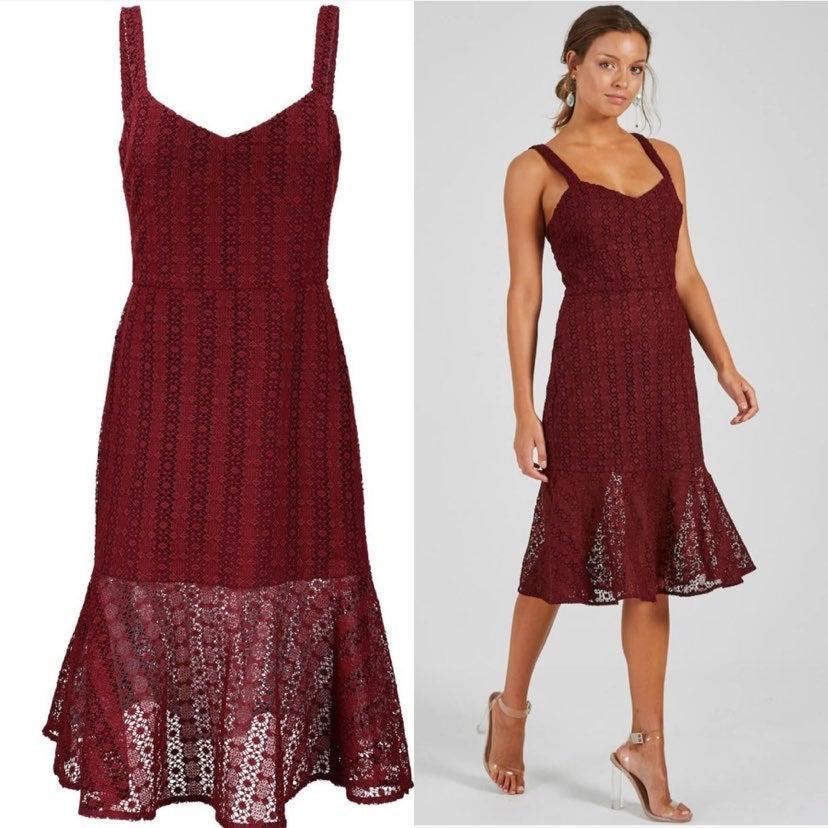 Cooper ST maroon lace mermaid midi dress
