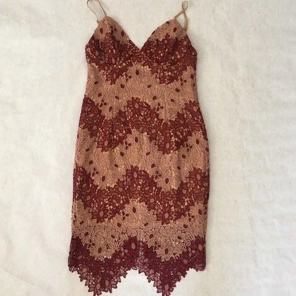 Bardot Burgundy Two-Tone Lace Dress