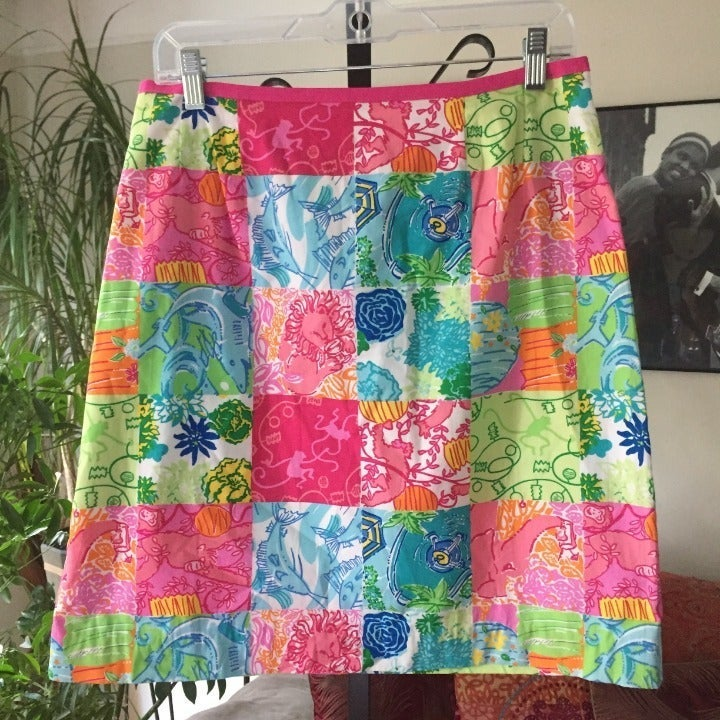 LILLY PULITZER Party Patch Print Skirt