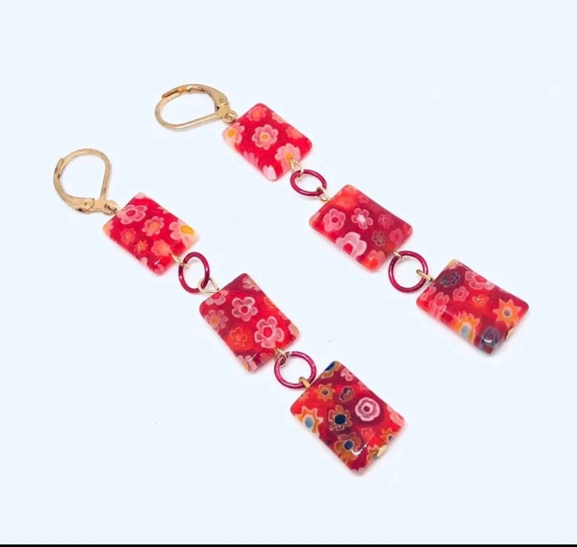 Red long earrings - lampwork jewelry NEW