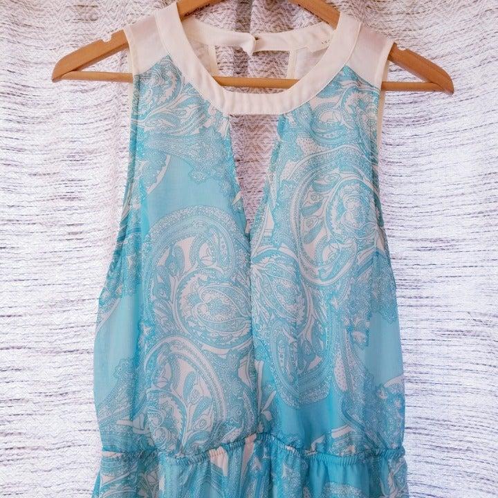 Lush Boho Fit & Flare Dress Blue Large