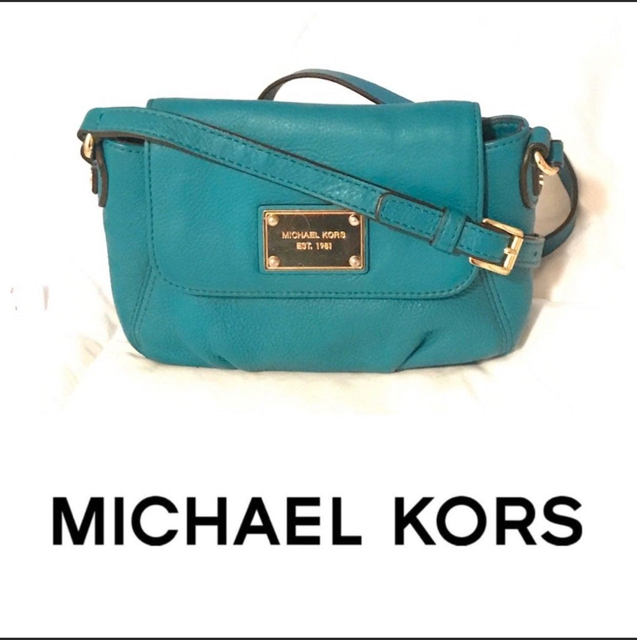 Michael Kors leather Teal Crossbody