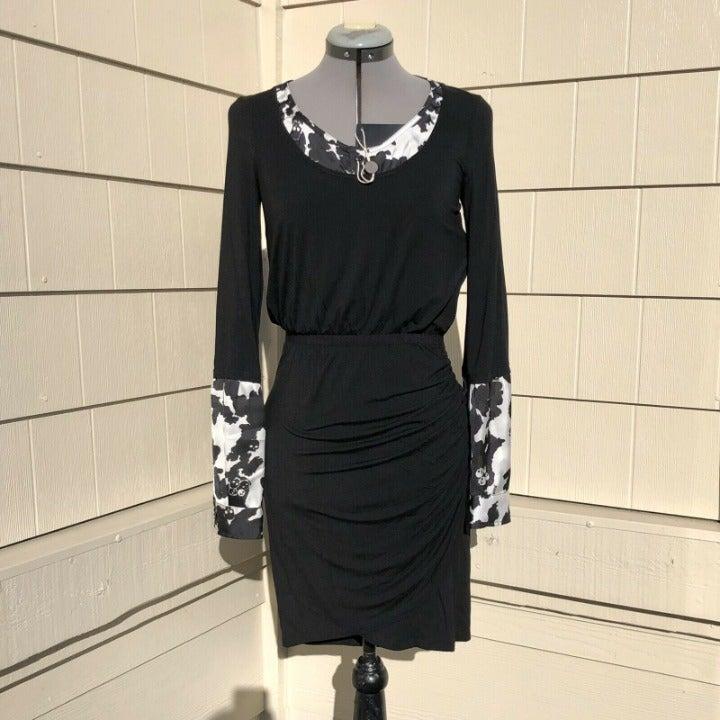 Richmond Denim Jersey Ruched Skull Dress