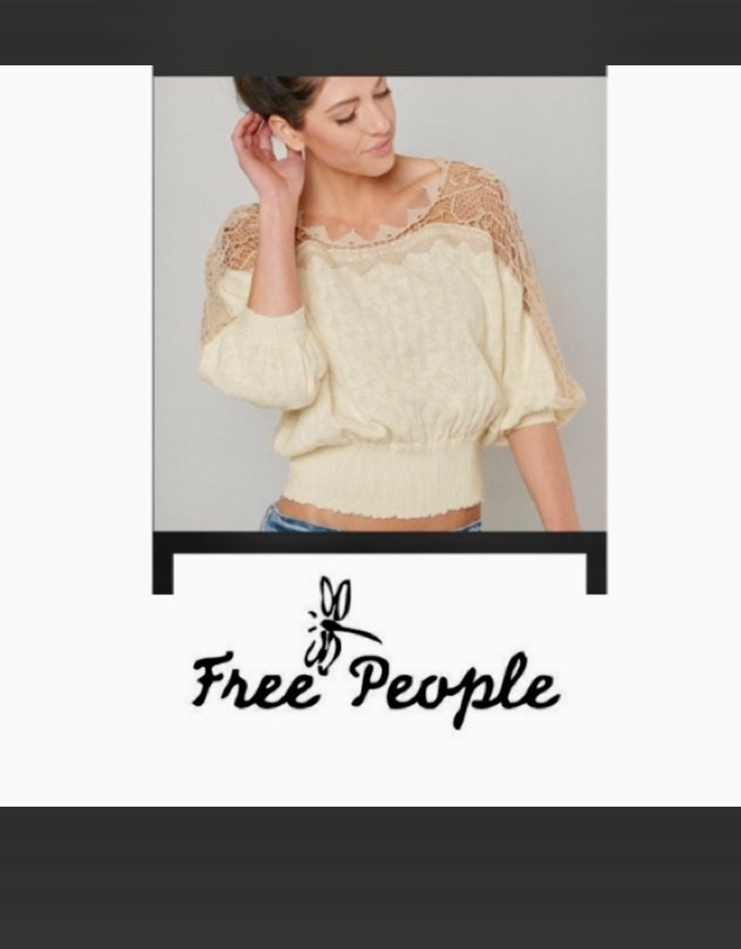 FREE PEOPLE love lace sweater top SP