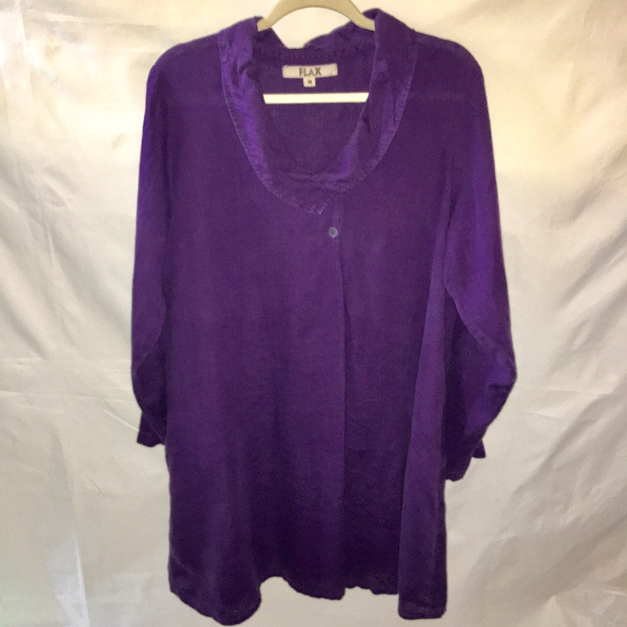 FLAX 100% Linen purple boho midi dress M