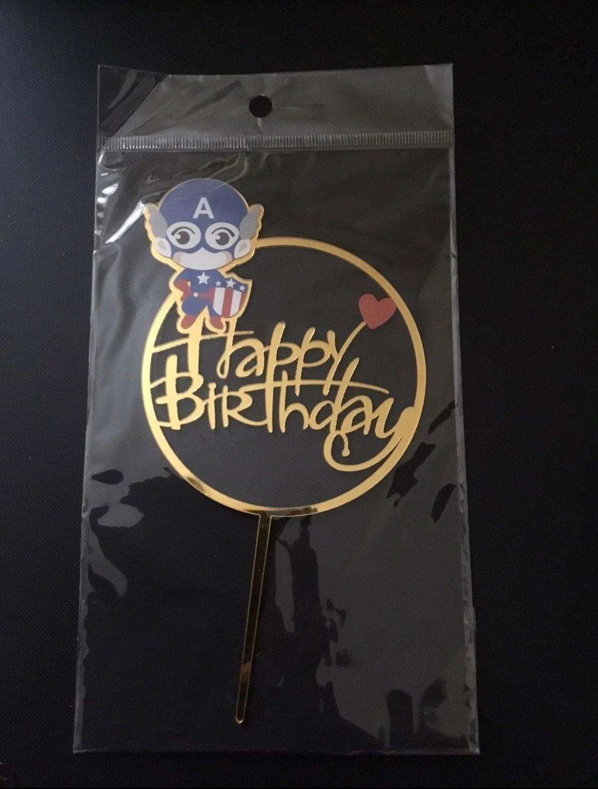 Captain America happy birthday cake sign