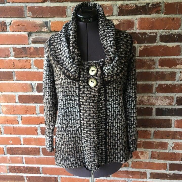 AVA Shawl-Collar Sweater Black Gray S