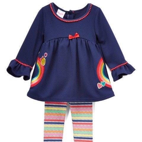 Nannette Navy Rainbow Tunic & Stripe Pan