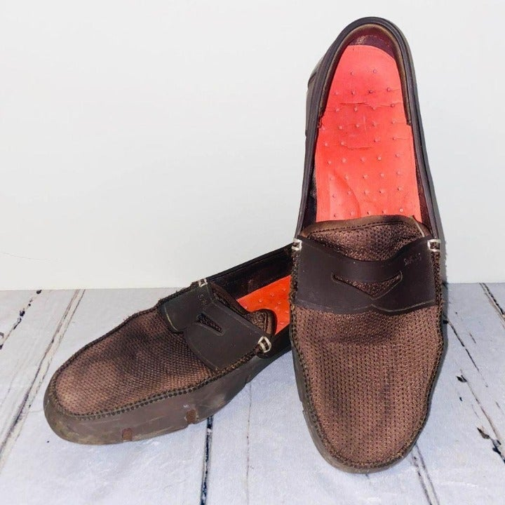 Swims men's 11 loafer shoes brown