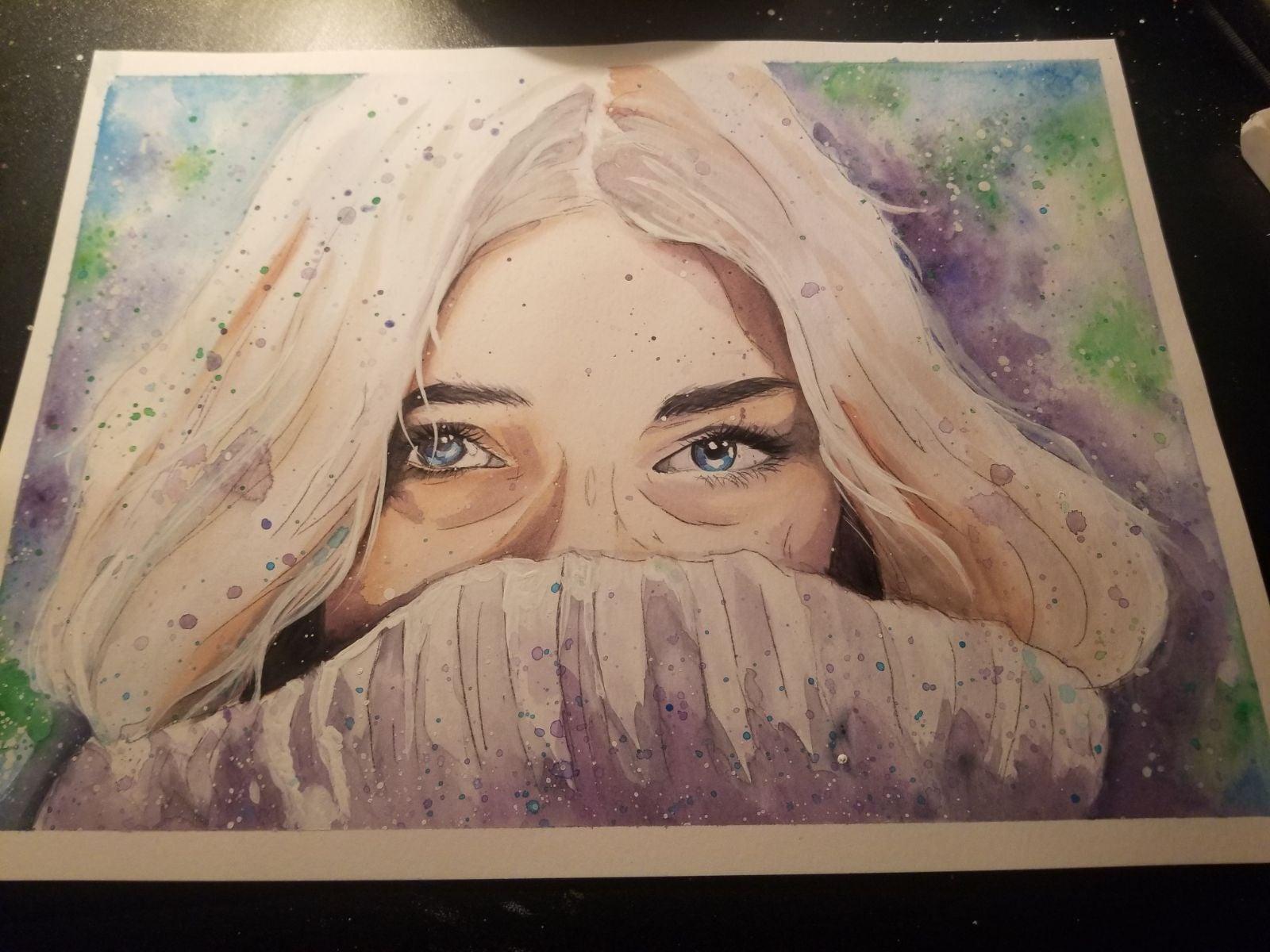 Winter painting woman Prismacolor 9×12