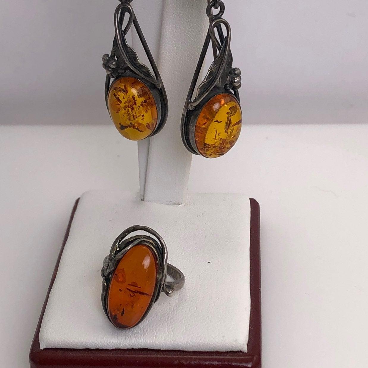 Amber Ring & Earring Set