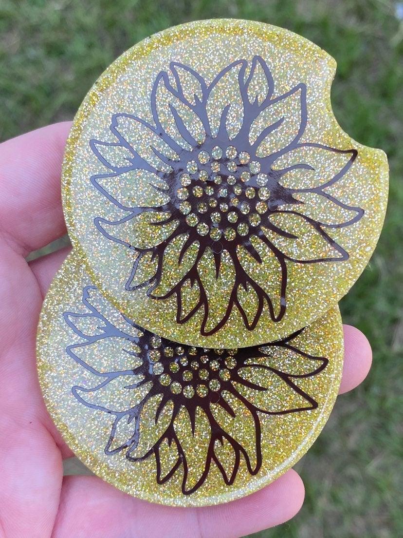 Sunflower glitter car coasters set