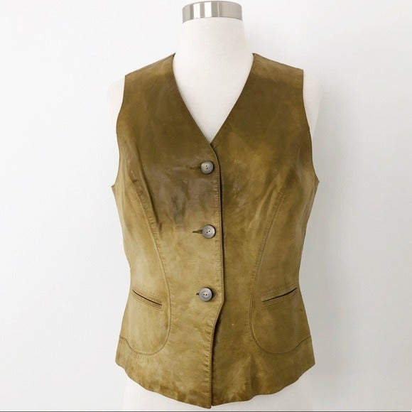 Dana Buchman Green Rodeo Leather Vest Ja