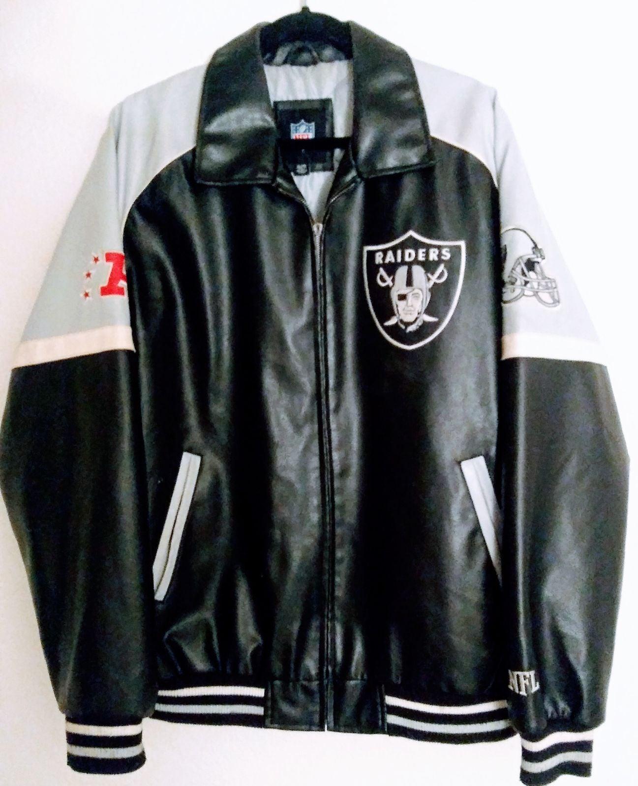 Raiders Faux Leather Varsity Zipper Jack