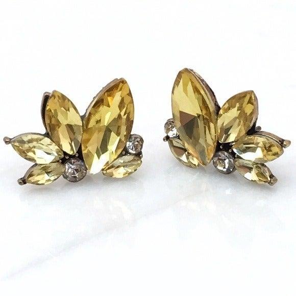 Yellow Crystal Cluster Stud Earrings