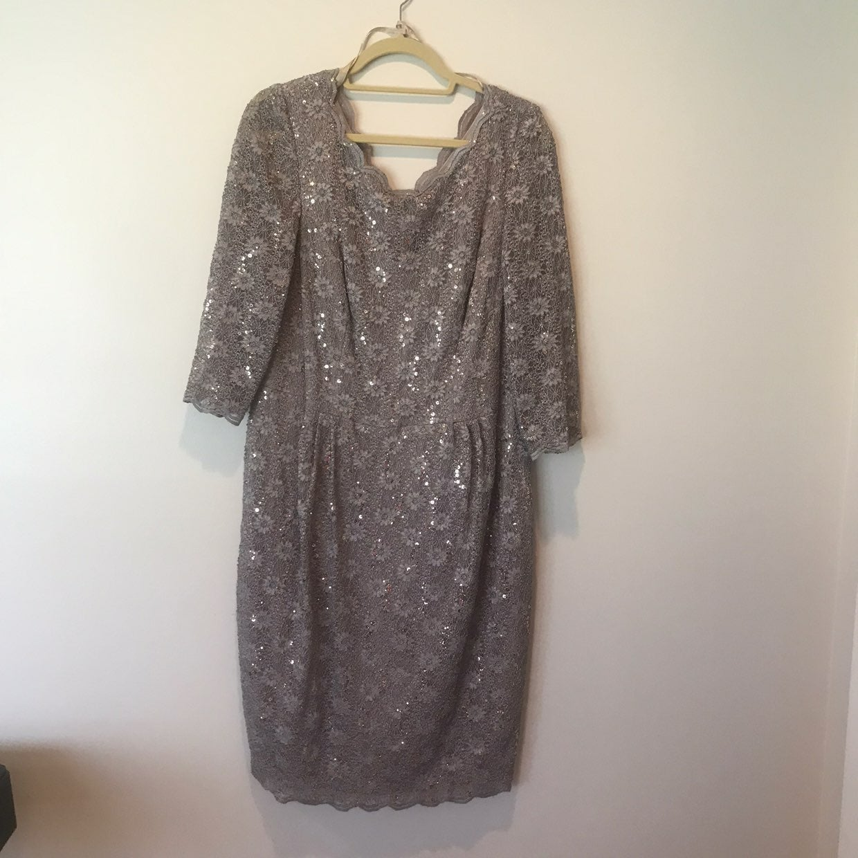 EUC! Formal Taupe Lace & Sequin Dress