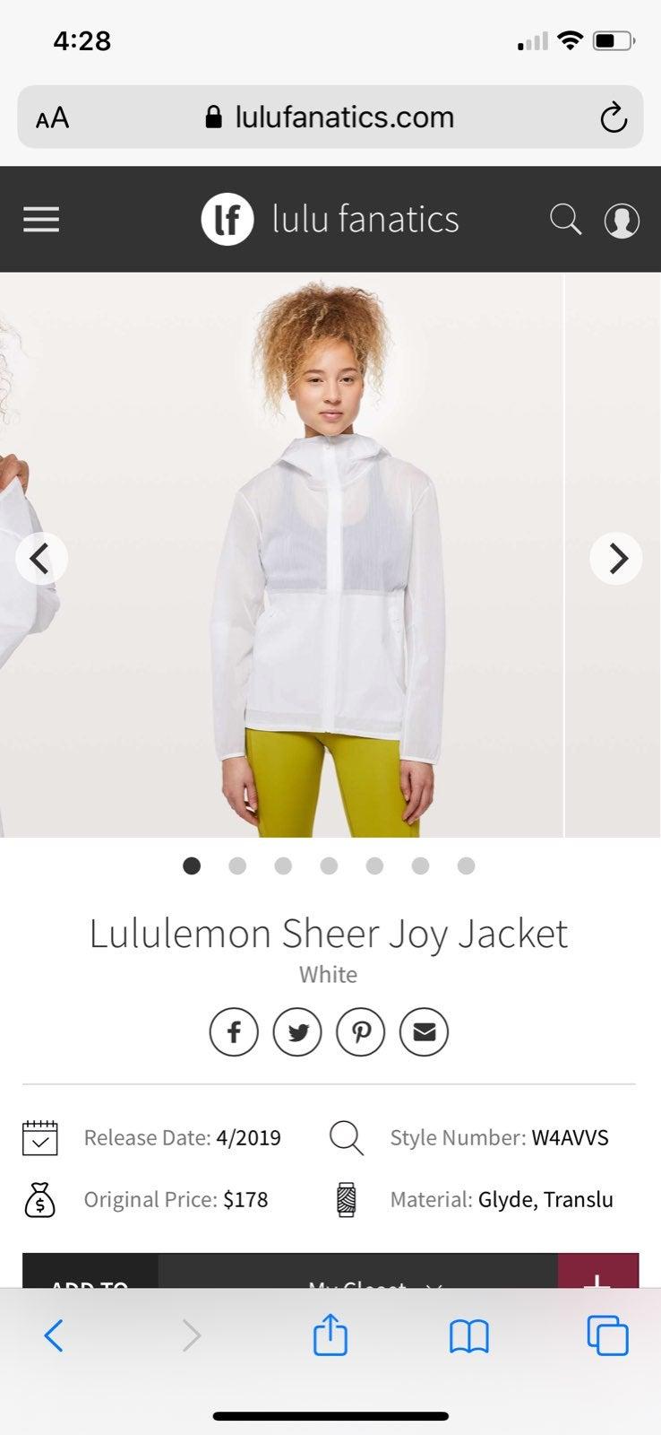 NEW LULULEMON SHEER JOY JACKET 8