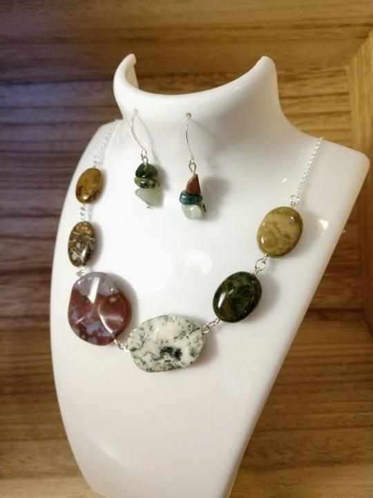 Jasper & Agate Crystal Necklace Earrings