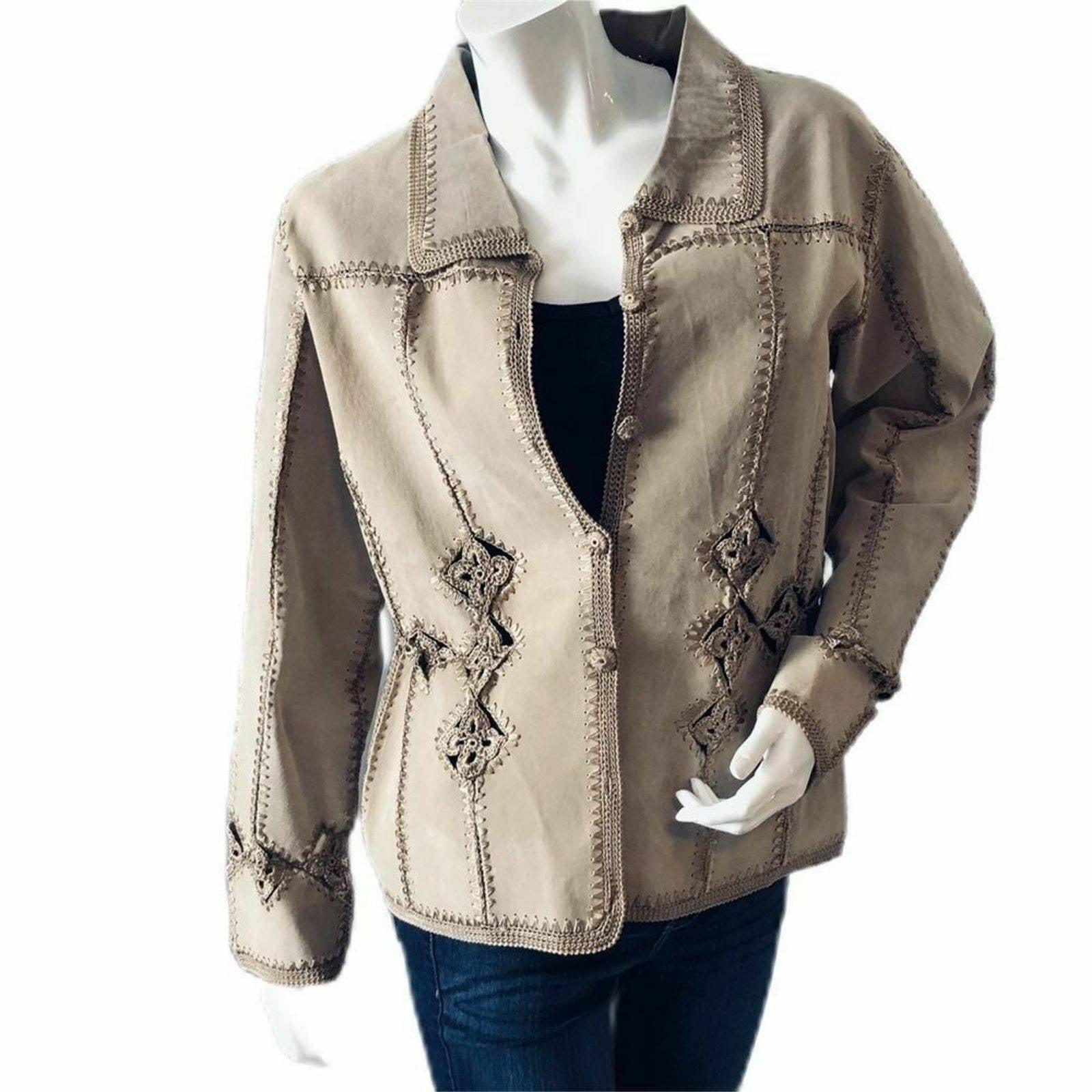 Carducci Suede Leather Crochet Jacket