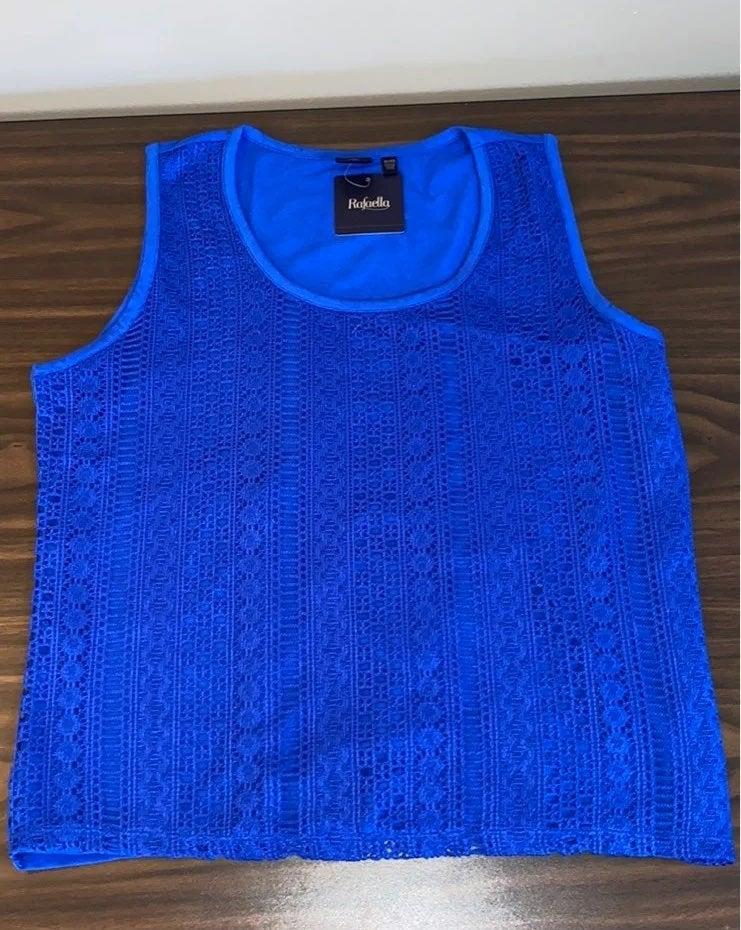 Rafaella blue lace dressy tank