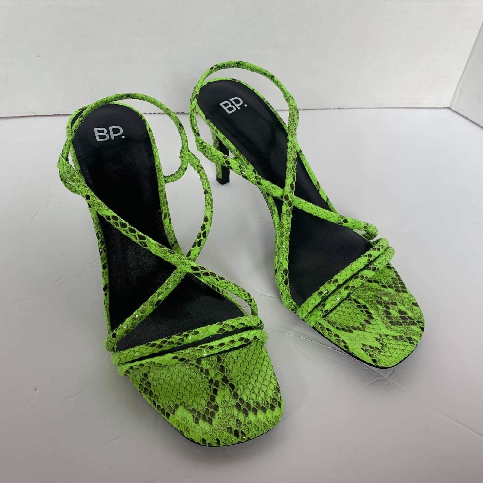 BP. Neon Green Strappy Square toe Heels
