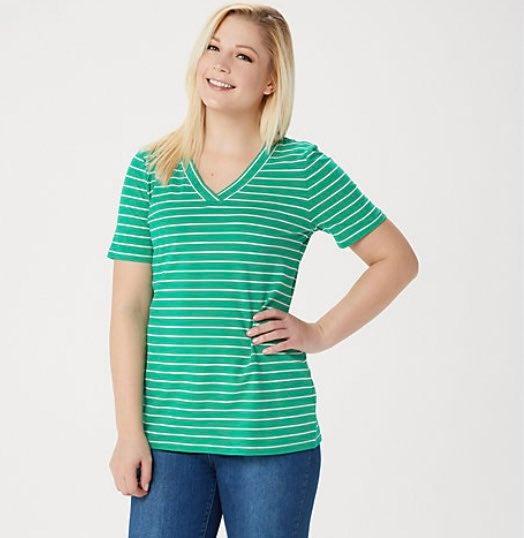 Denim & Co. orange stripe top Size 1X