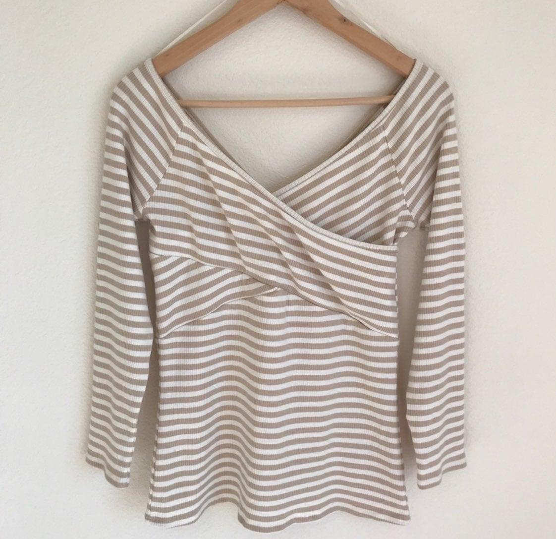 Deletta women's tan striped shirt