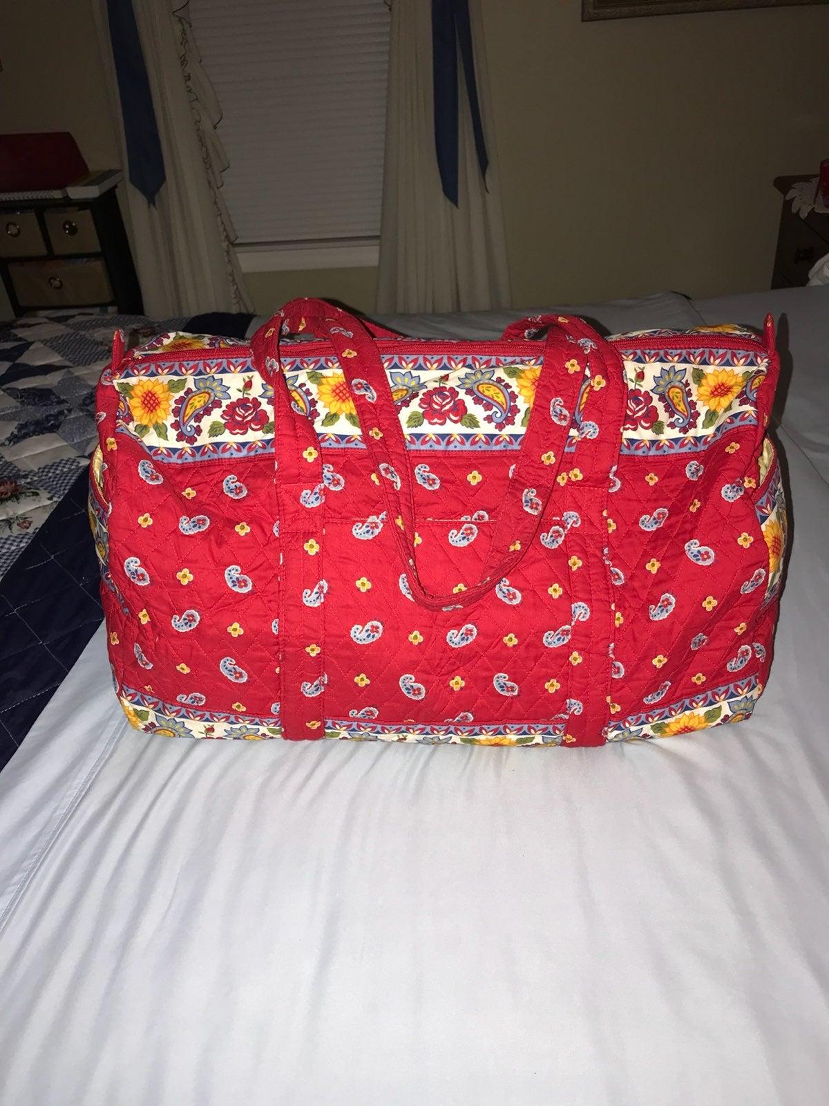 Red Paisley Quilted Weekender Bag