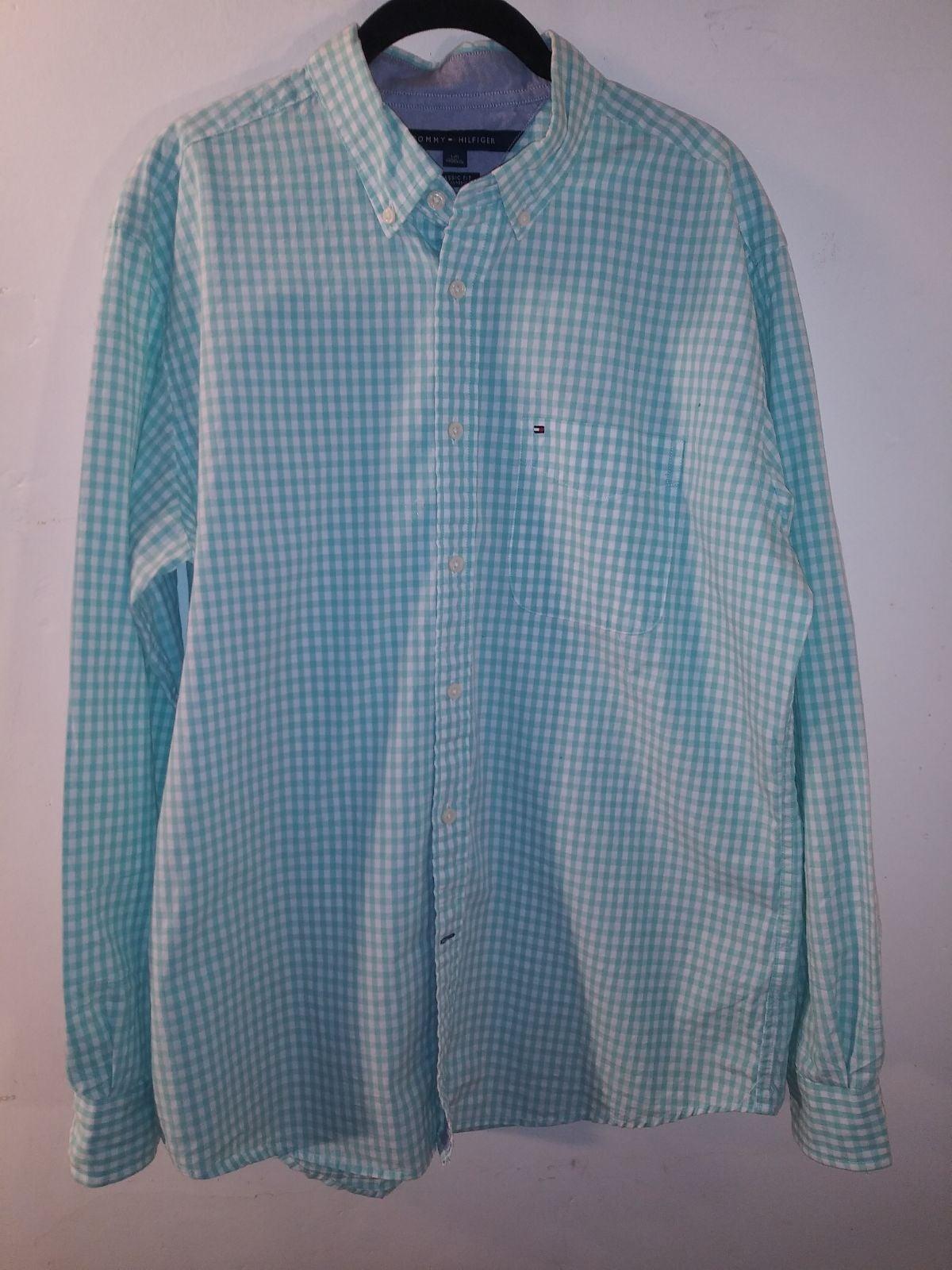 Tommy Hilfiger Mint/White Button Shirt