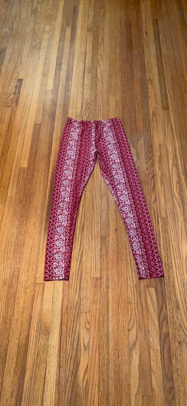 Gently Used Pink Rose Patterned Leggings