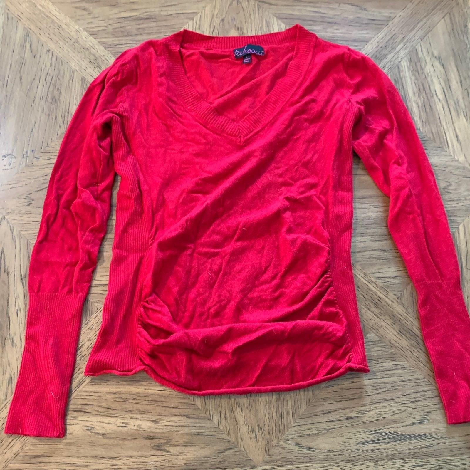 Lightweight Red Vneck Sweater