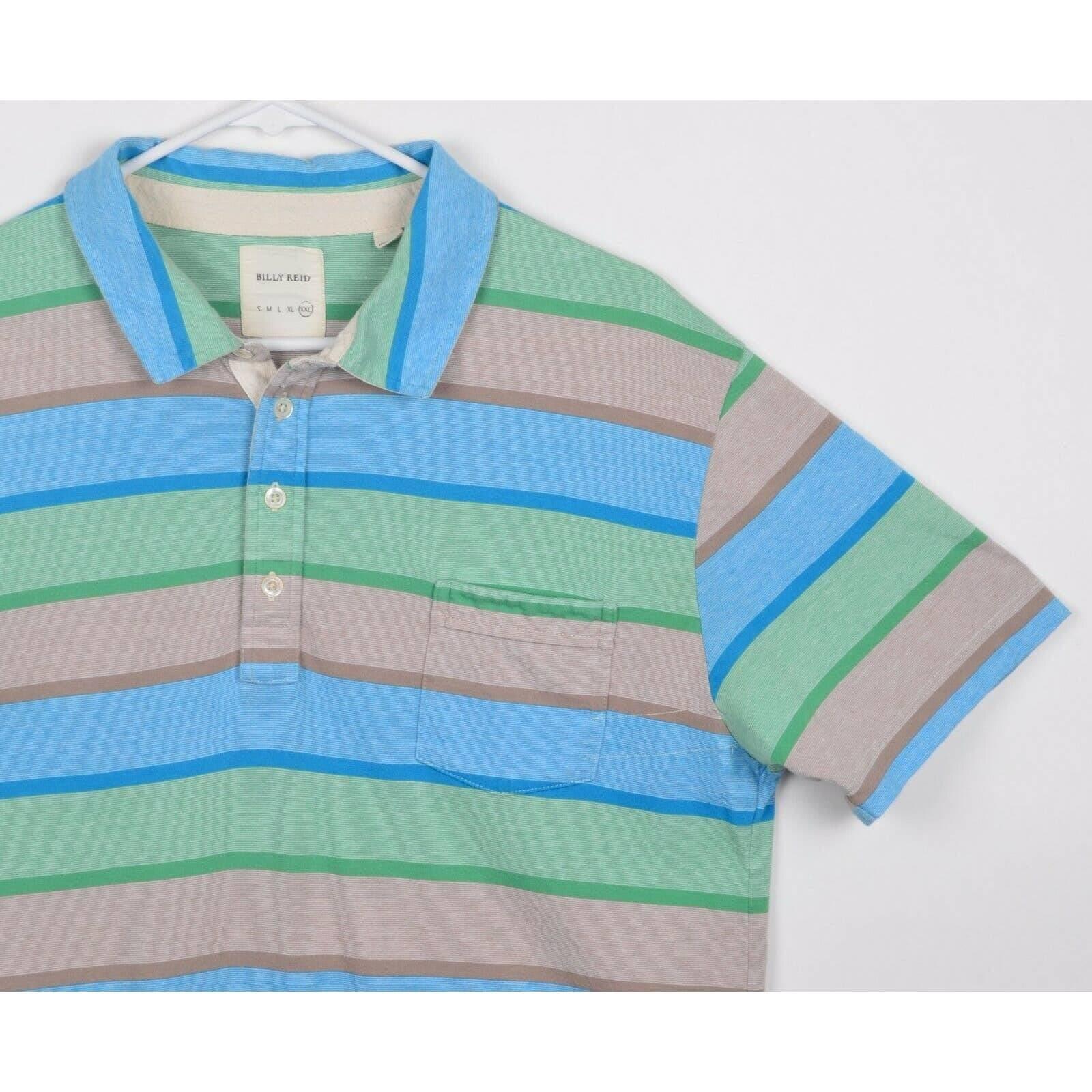 Billy Reid 2XL Blue Striped Polo Shirt