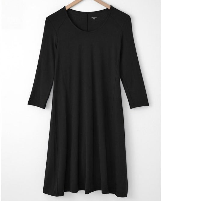 Garnet Hill Knit Trapeze Dress Black Med