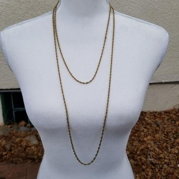 Crown Trifari long gold chain necklace