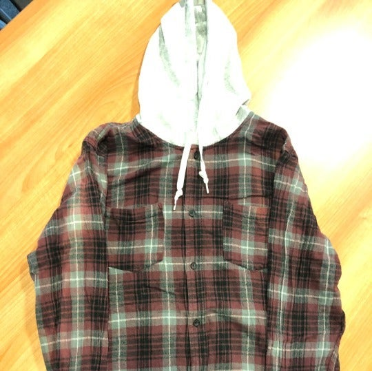 MENS Hooded Button Up Flannel