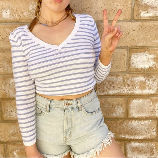 Loft striped knit long sleeve top Sz XS